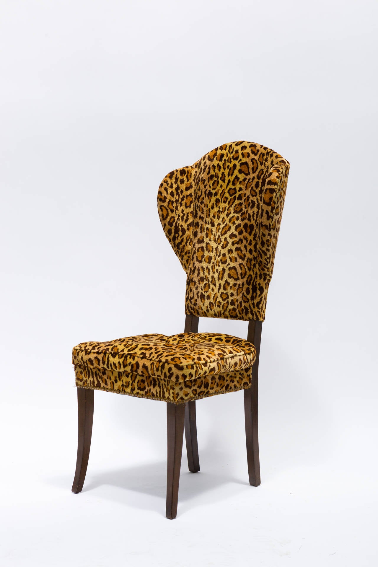 pair of mid century leopard print occasional chairs at 1stdibs