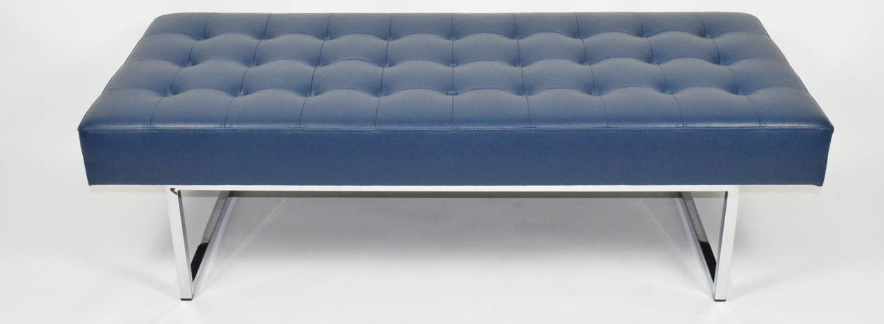 Custom Tufted Bench In Donghia Faux Leather With Chrome