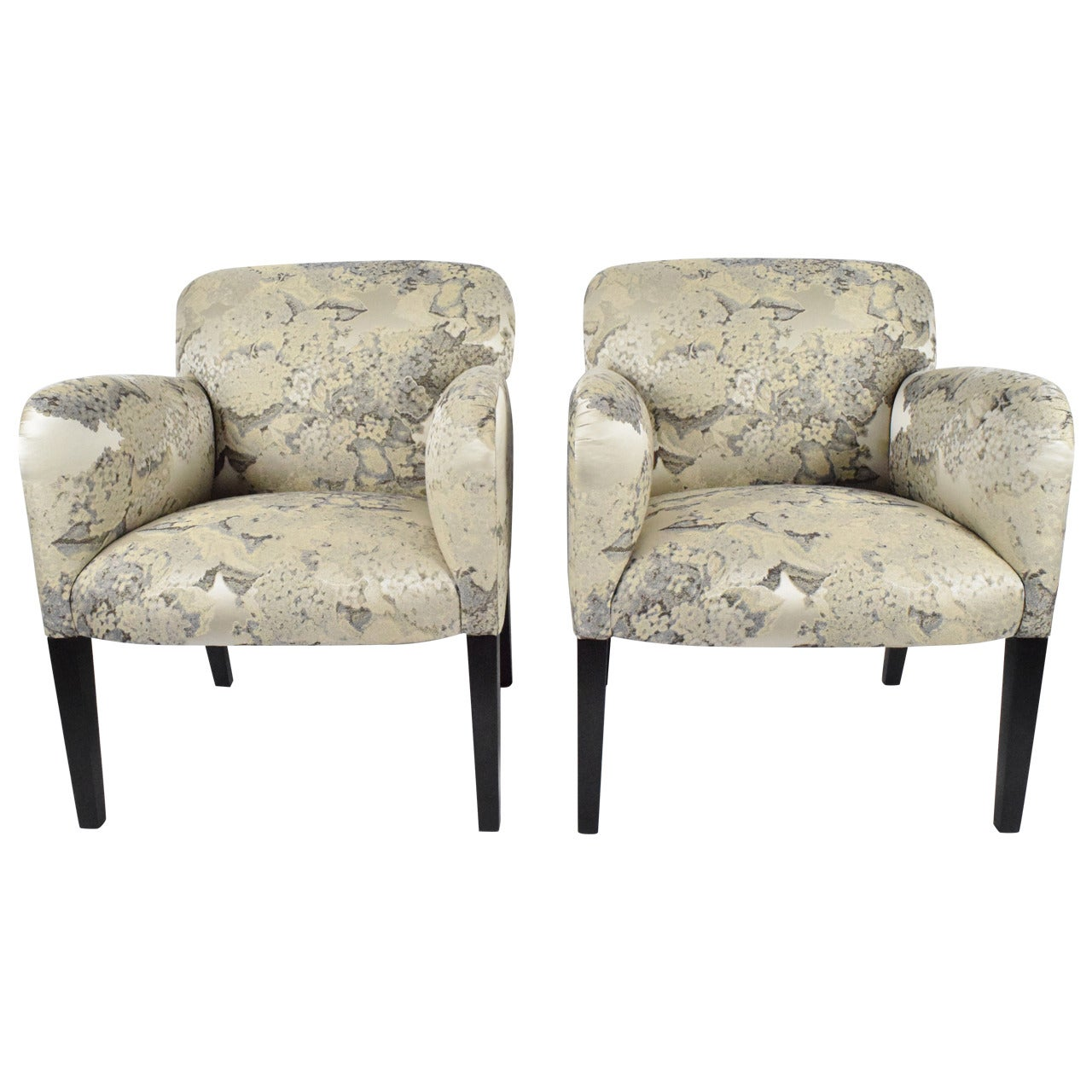 """Donghia """"Norway"""" Club Chairs in Donghia """"Edith"""" Fabric"""