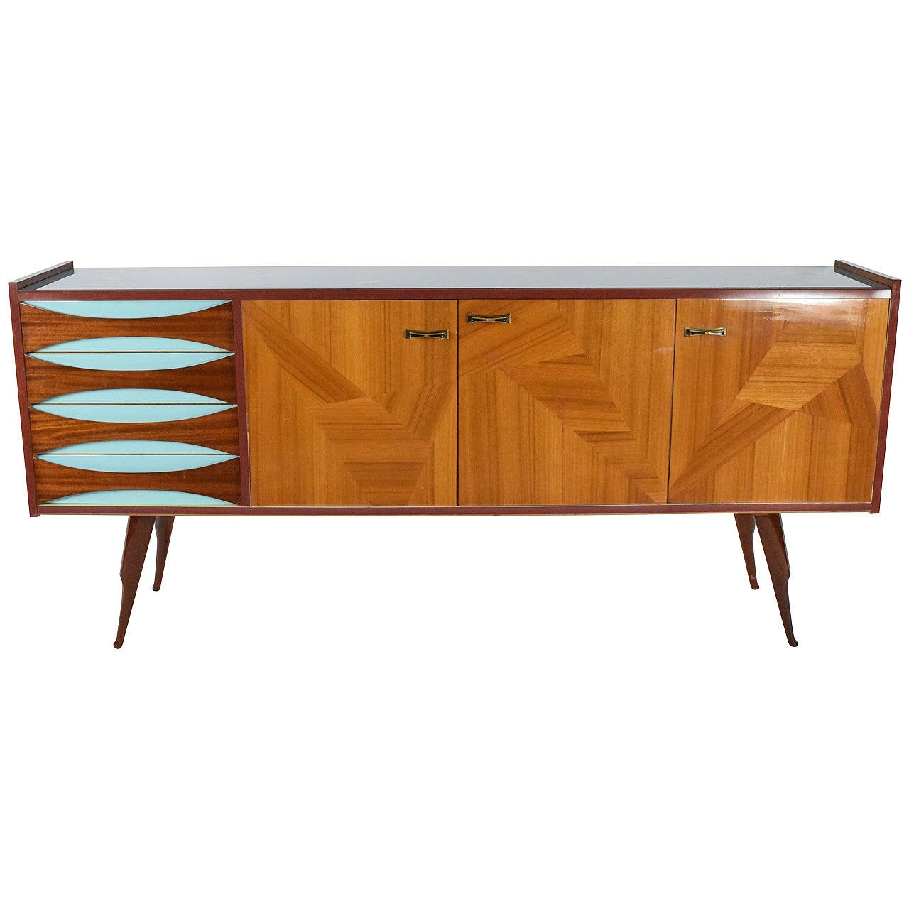 Italian sideboard with glass top at 1stdibs for Sideboard glas