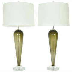Pair of Large Murano Teardrop Lamps with Lucite Bases