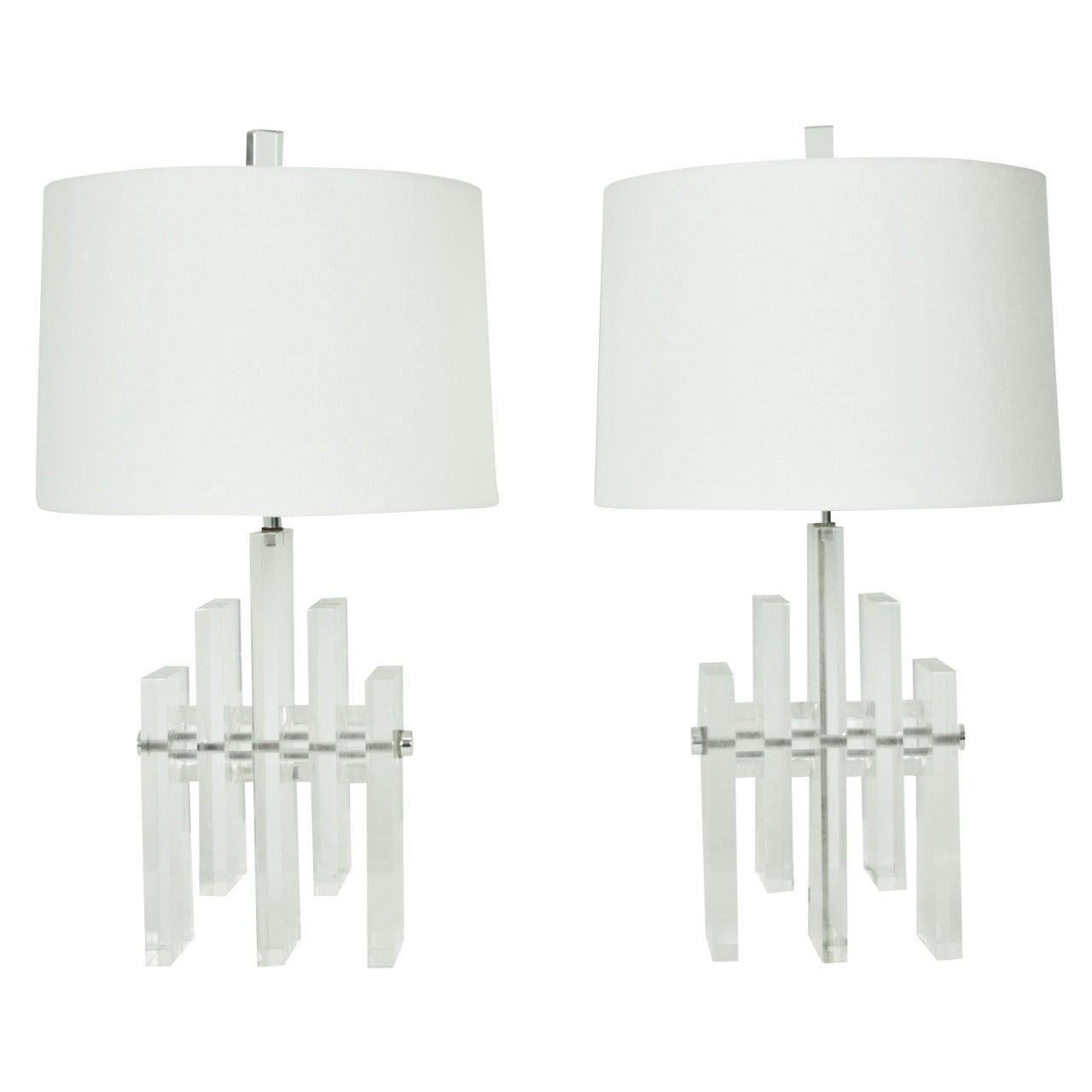 """Pair of Lucite """"Skyscraper"""" Lamps"""