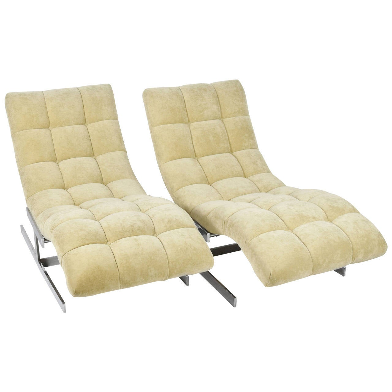 Milo baughman chaise lounges at 1stdibs for Chaise longue lounge