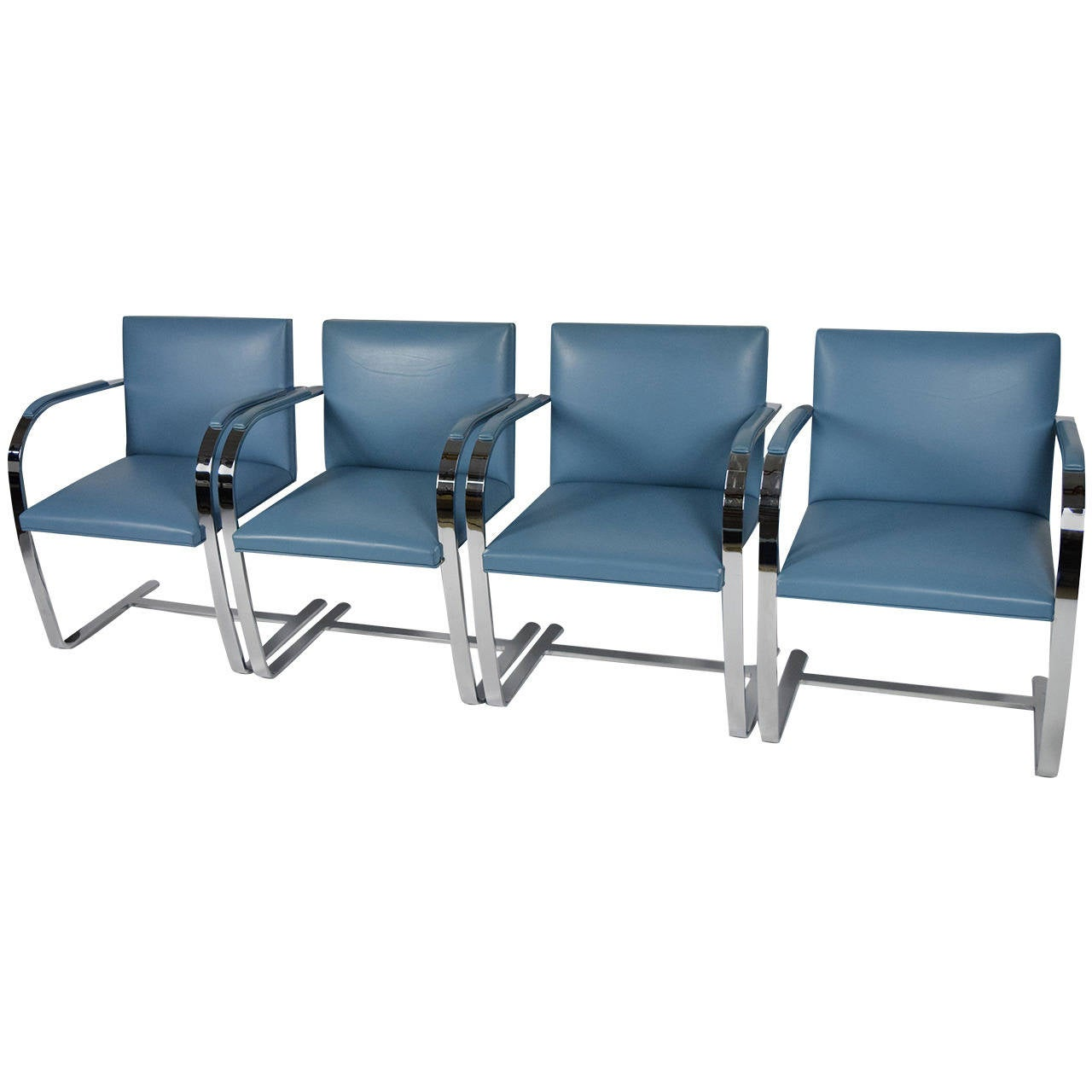 Set of Four Knoll Flat Bar Brno Chairs in Blue Leather at
