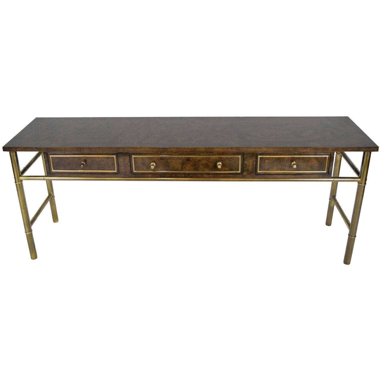 Mastercraft Burl Wood U0026 Patinated Brass Console Table 1