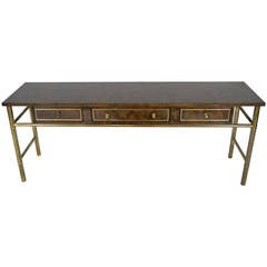 Mastercraft Burl Wood & Patinated Brass Console Table