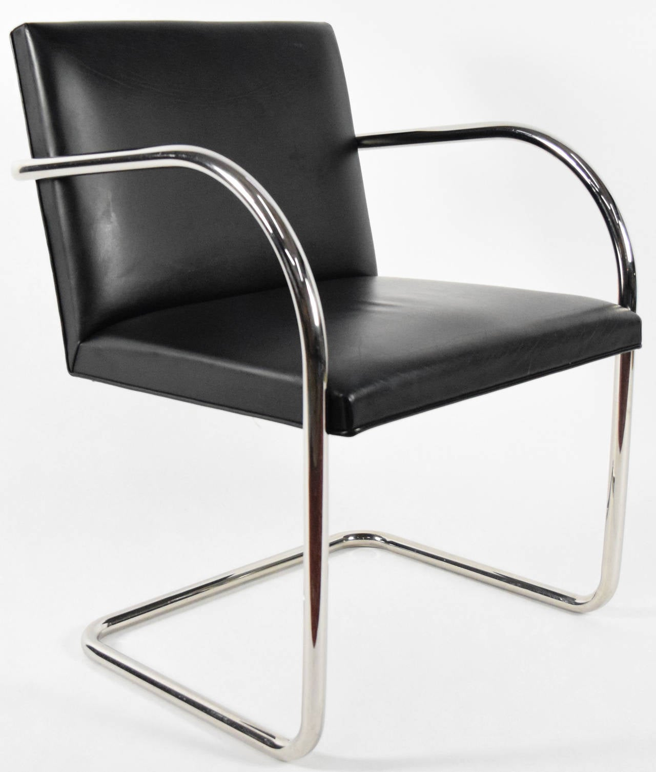 Tubular Brno Chair in Black Leather by Knoll For Sale at 1stdibs