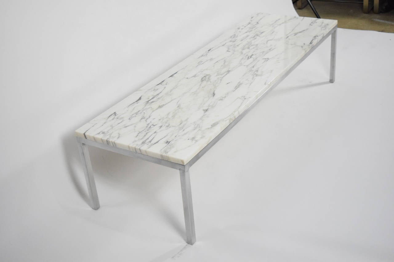 marble top florence knoll coffee table at 1stdibs. Black Bedroom Furniture Sets. Home Design Ideas
