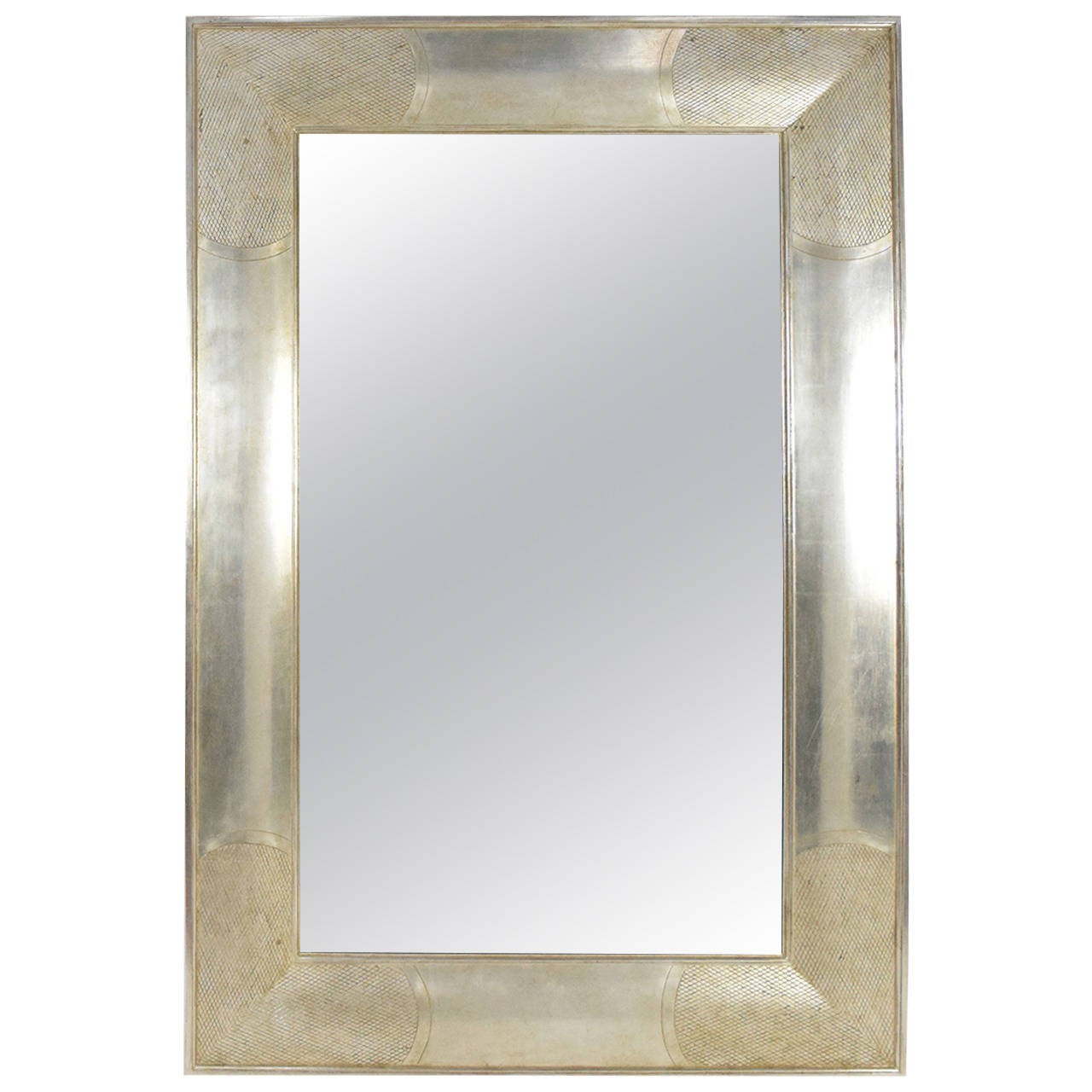 Large j robert scott english ii mirror in silver leaf at for Big silver mirror
