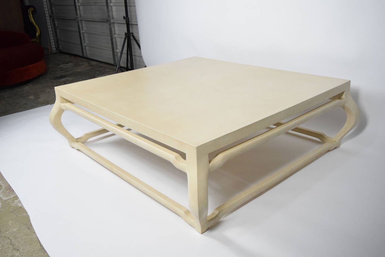 J Robert Scott Ming Coffee Table In Lacquered Grasscloth At 1stdibs