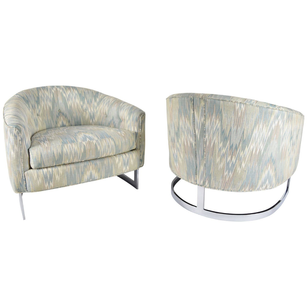 Pair of Milo Baughman Curved Tub Lounge Chairs with Polished Steel Base at 1s