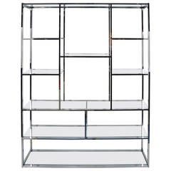 Milo Baughman Style Chrome and Glass Etagere
