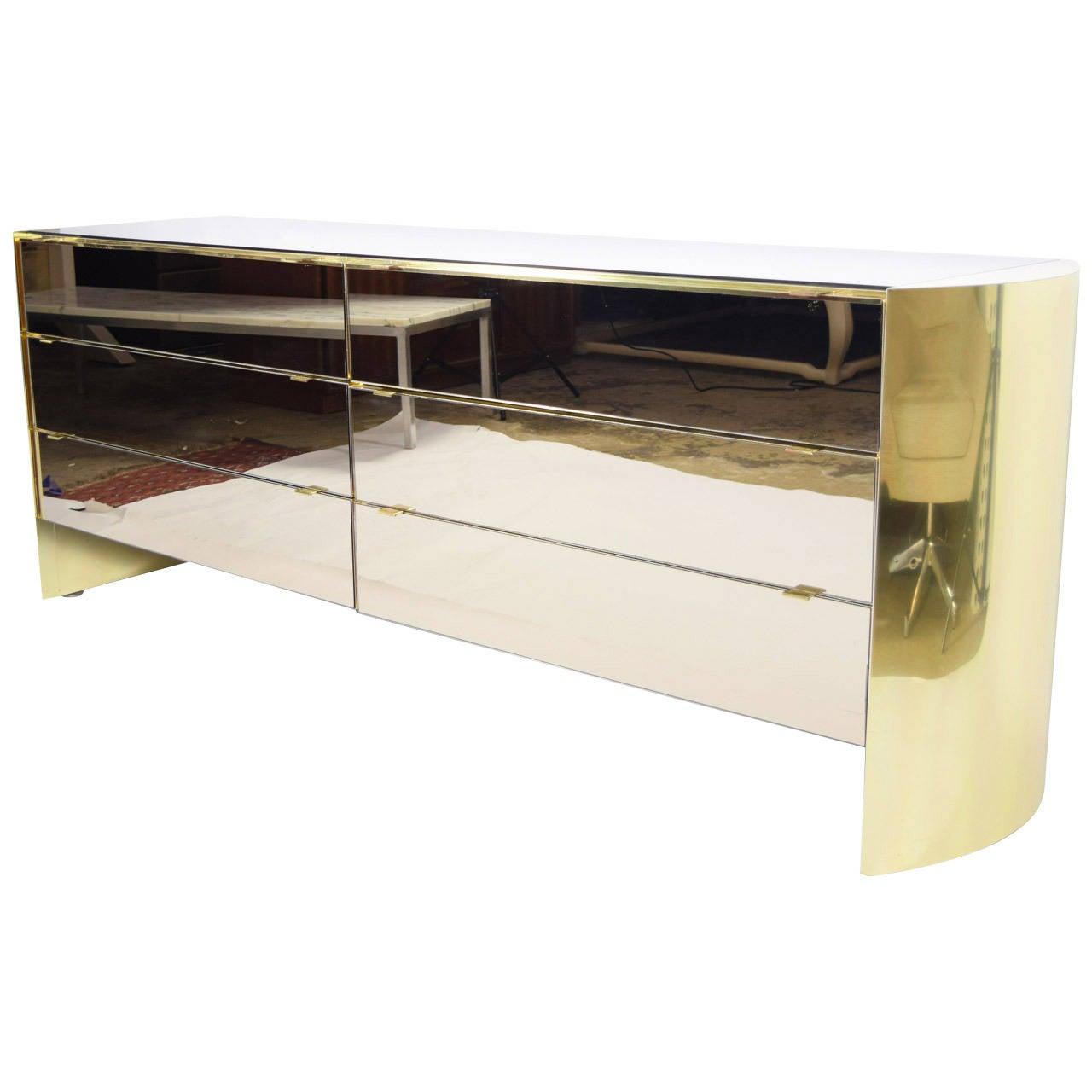 Ello Brass and Smoked Mirror Dresser