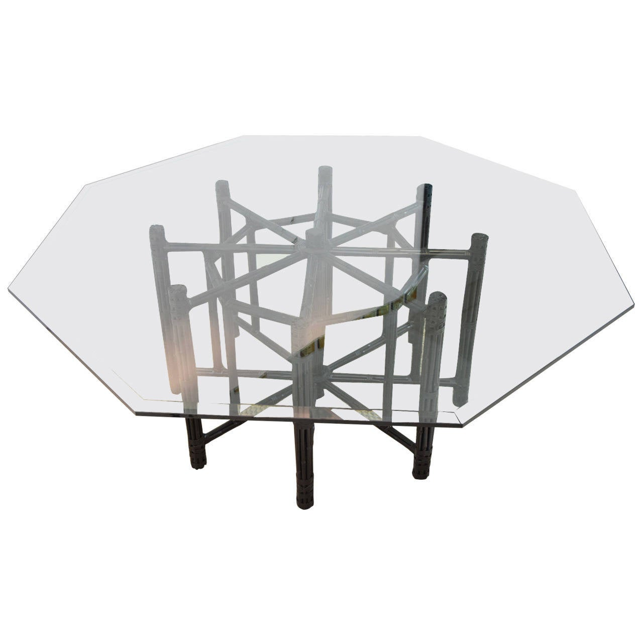 McGuire Bamboo Table With Octagon Glass Top 1