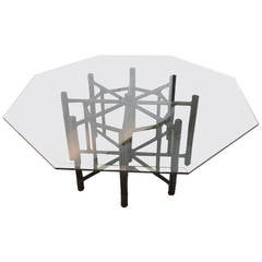 McGuire Bamboo Table with Octagon Glass Top