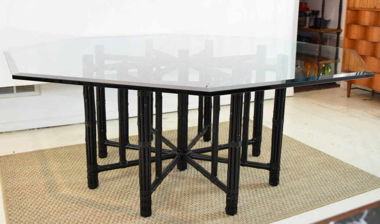 McGuire Bamboo Table With Octagon Glass Top 3
