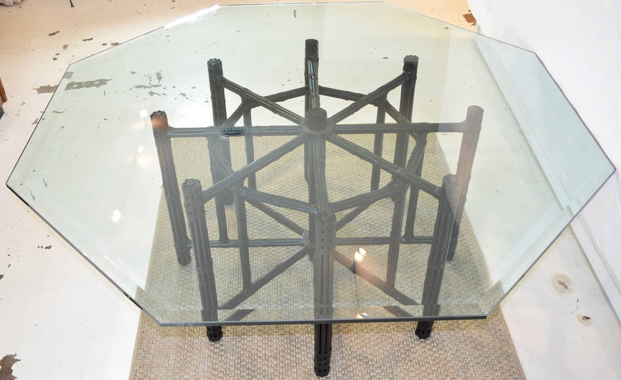 McGuire Bamboo Table With Octagon Glass Top For Sale 3