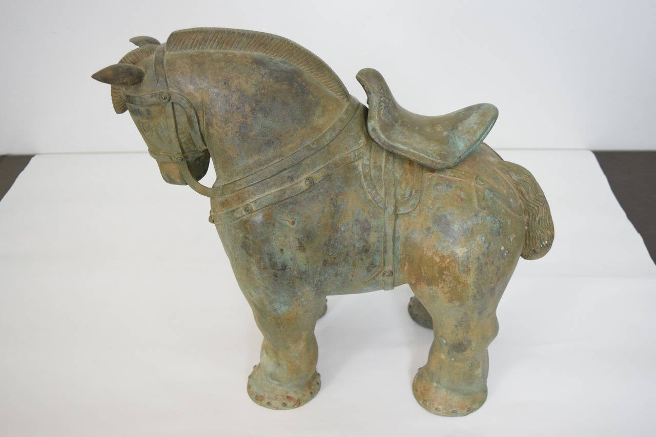 Modern Botero Styled Horse Sculpture in Bronze For Sale