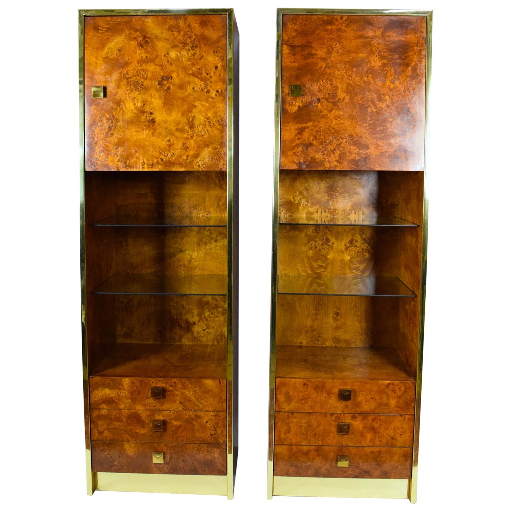Milo Baughman Styled Burled Walnut Wall Units by Founders of Thomasville