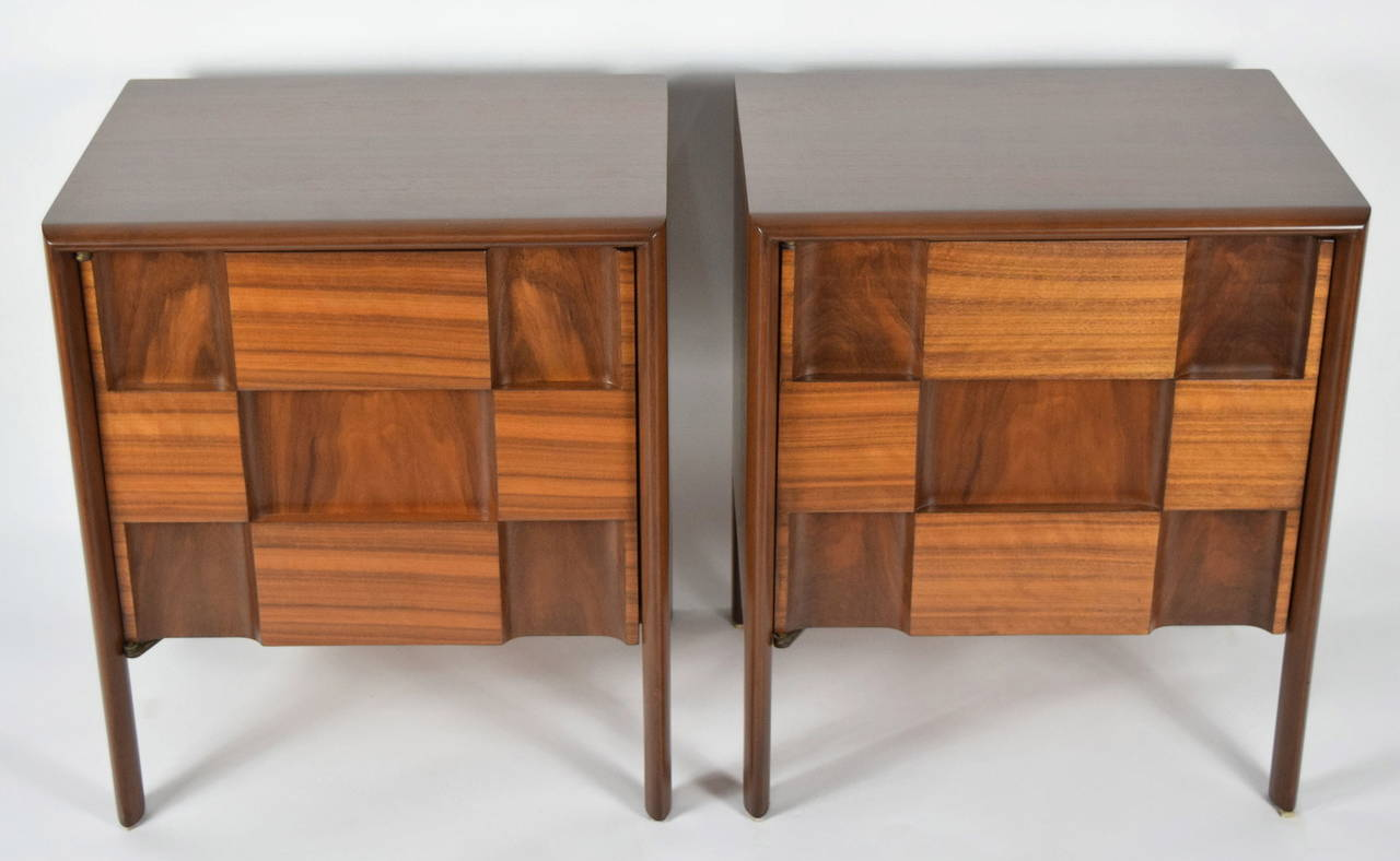 A pristine pair of Edmond Spence nightstands. These have hardly ever been used. Made of walnut.
