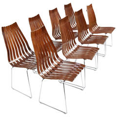 """Set of Eight Hans Brattrud """"Scandia"""" Rosewood Dining Chairs"""