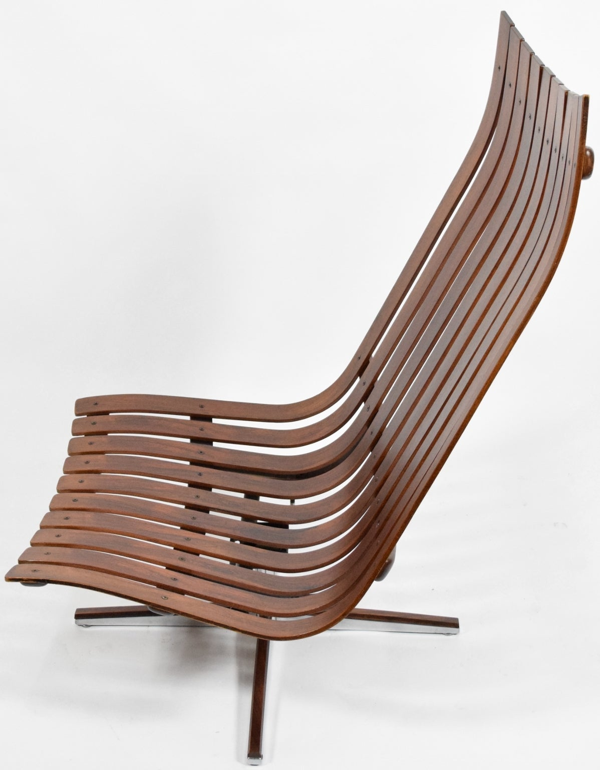 Hans Brattrud Scandia Swivel Lounge Chair For Hove Mobler In Rose