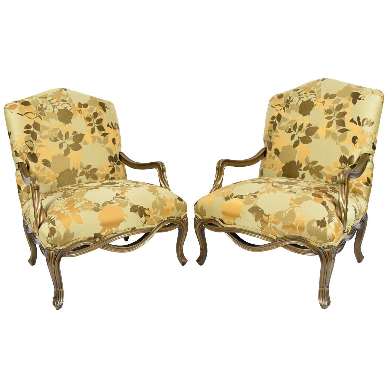 Pair Of Custom Louis XVI Style Lounge Chairs With Rubelli Fabric 1