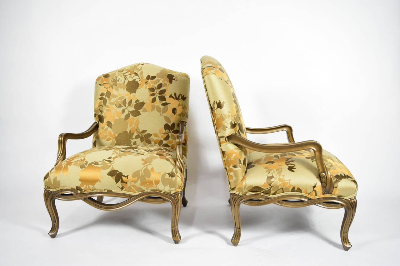 Pair Of Custom Louis XVI Style Lounge Chairs With Rubelli Fabric 3