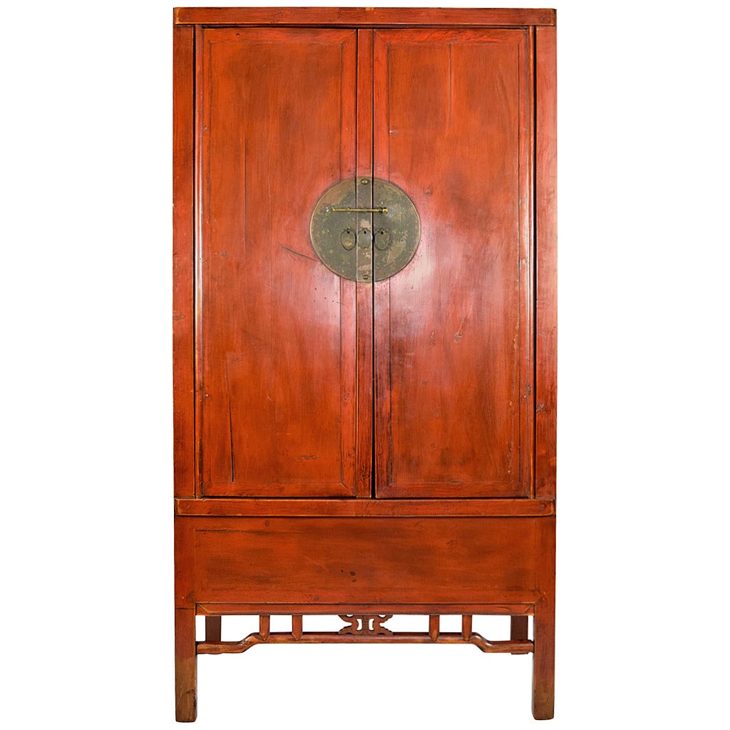 Chinese Red Armoire Wedding Cabinet For Sale