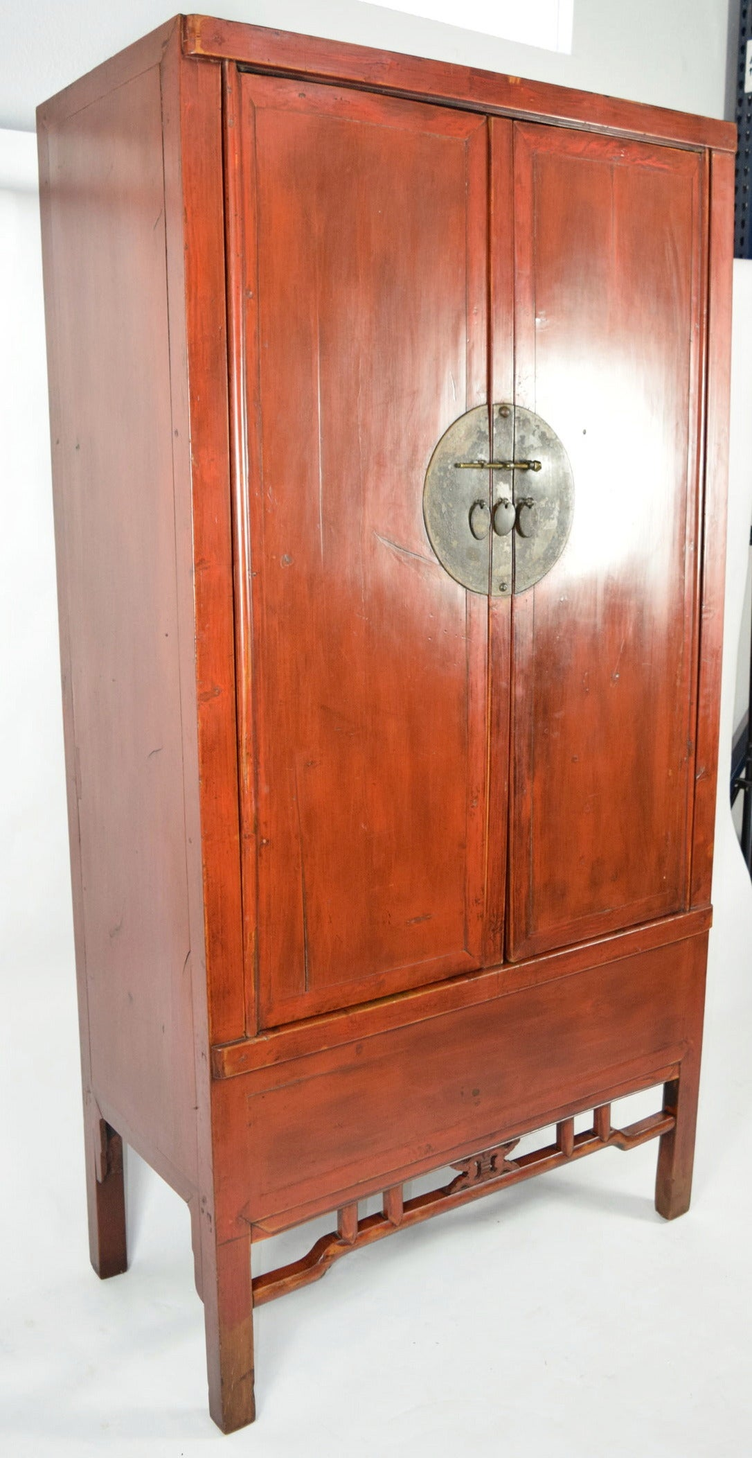 A beautiful large antique Chinese red armoire wedding cabinets with plenty  of storage and style for - Chinese Red Armoire Wedding Cabinet At 1stdibs