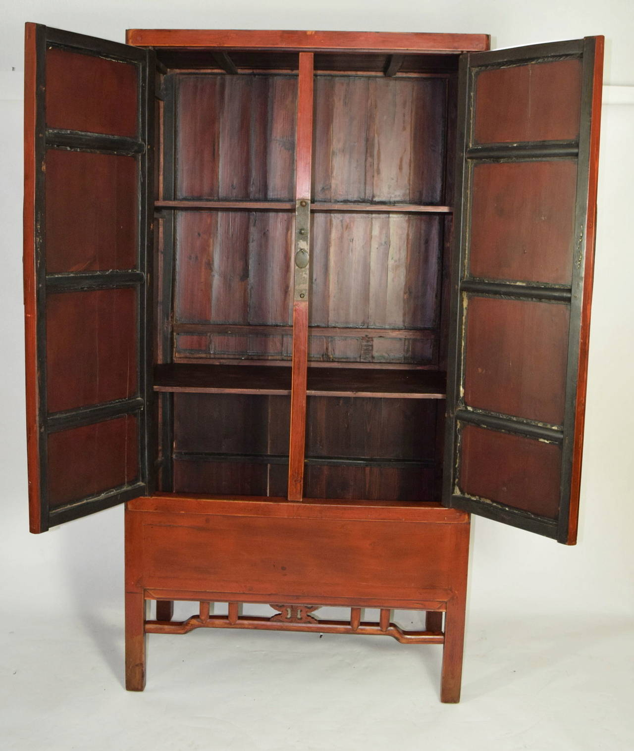 Chinese Red Armoire Wedding Cabinet For Sale at 1stdibs