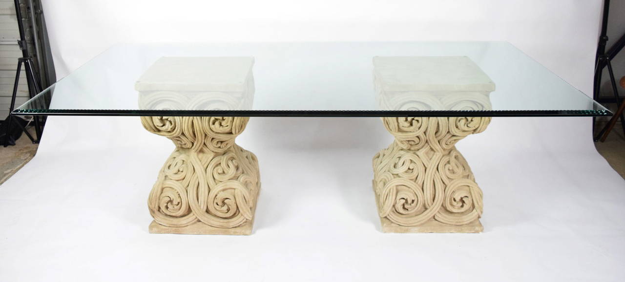 This Is A Beautiful Dining Table With Pair Of Stone Bases In An Intricate