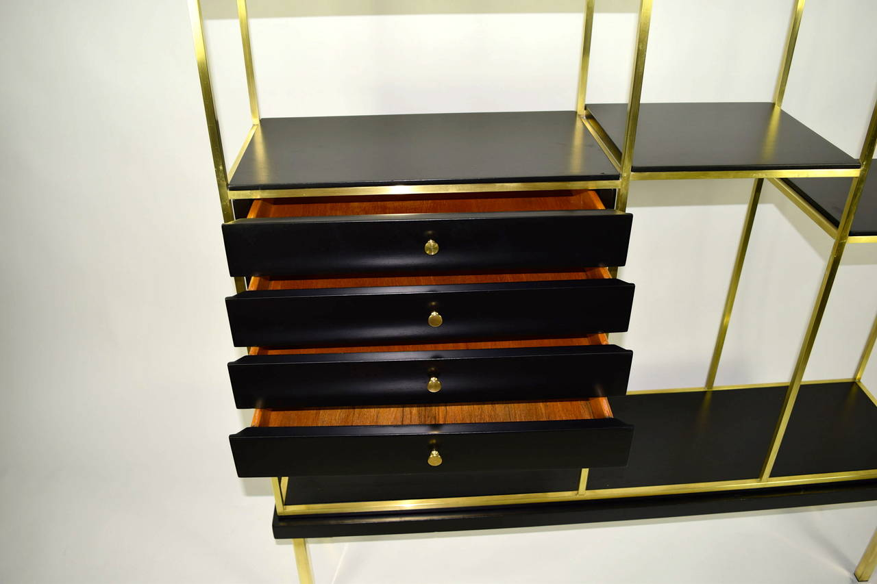 brass and wood etagere by furnette at 1stdibs. Black Bedroom Furniture Sets. Home Design Ideas