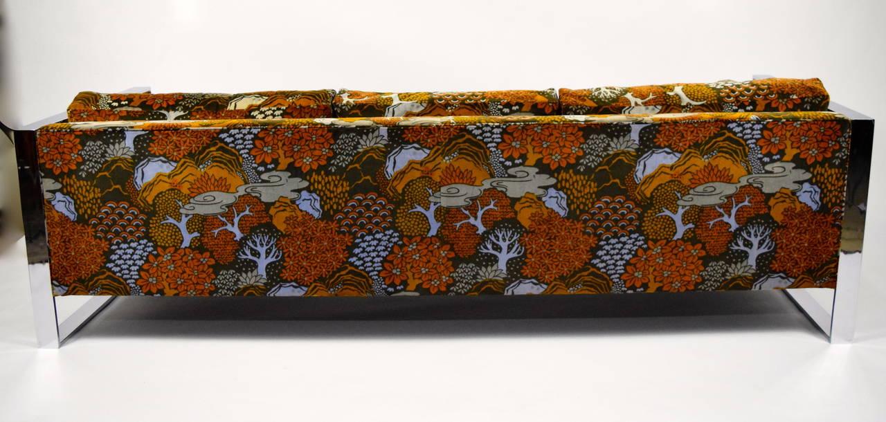 milo baughman sofa with jack lenor larsen fabric for sale. Black Bedroom Furniture Sets. Home Design Ideas