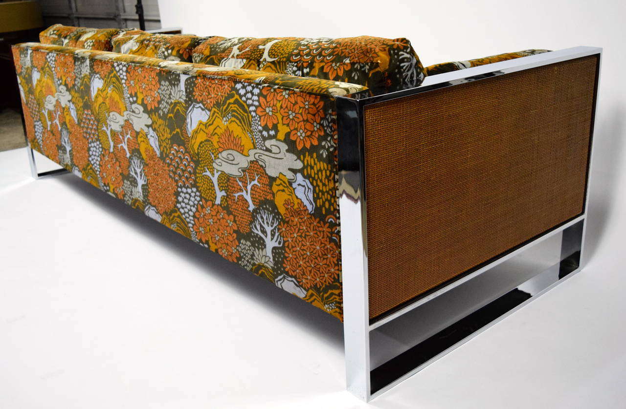 milo baughman sofa with jack lenor larsen fabric at 1stdibs. Black Bedroom Furniture Sets. Home Design Ideas