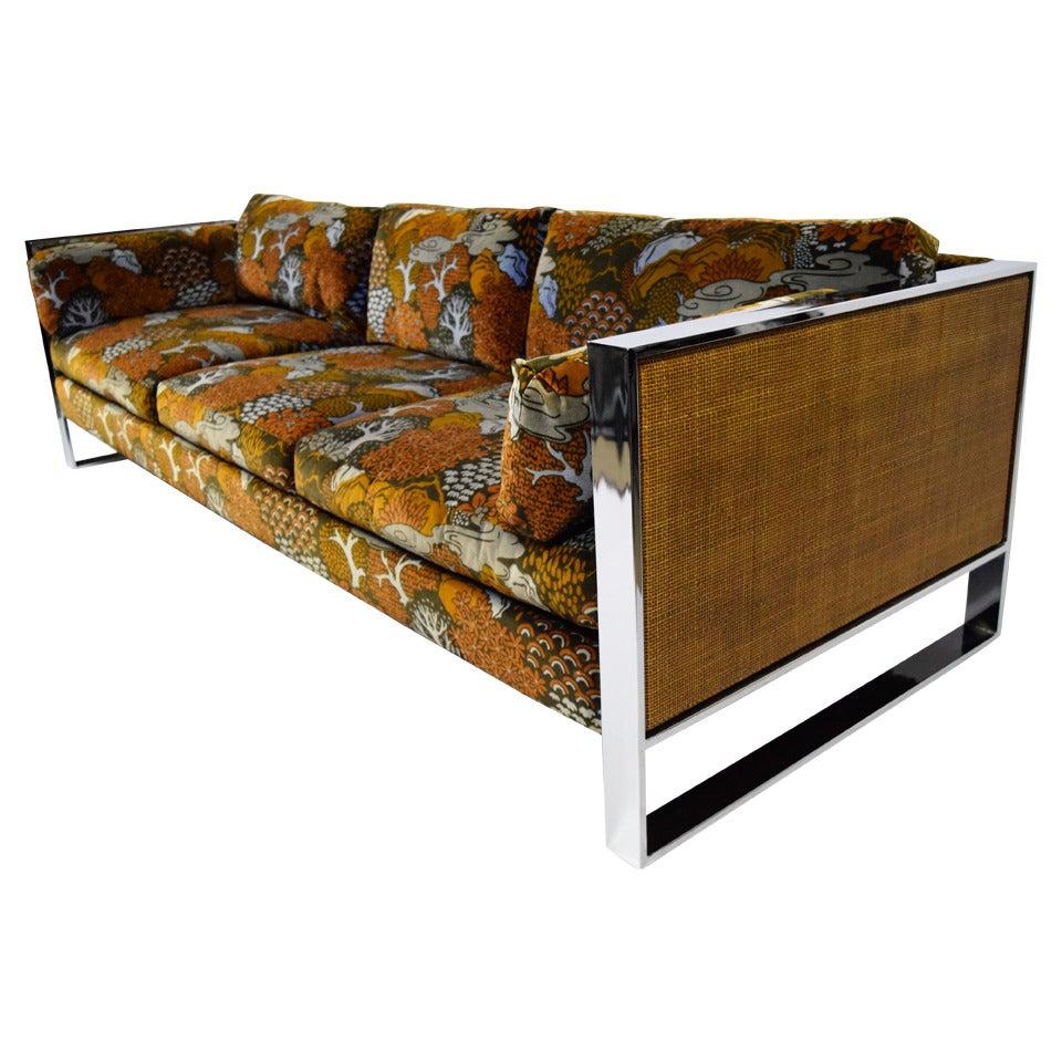 Milo baughman sofa with jack lenor larsen fabric for sale for Furniture 60618
