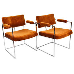 Eight or a pair of Milo Baughman Arm Chairs in Velvet