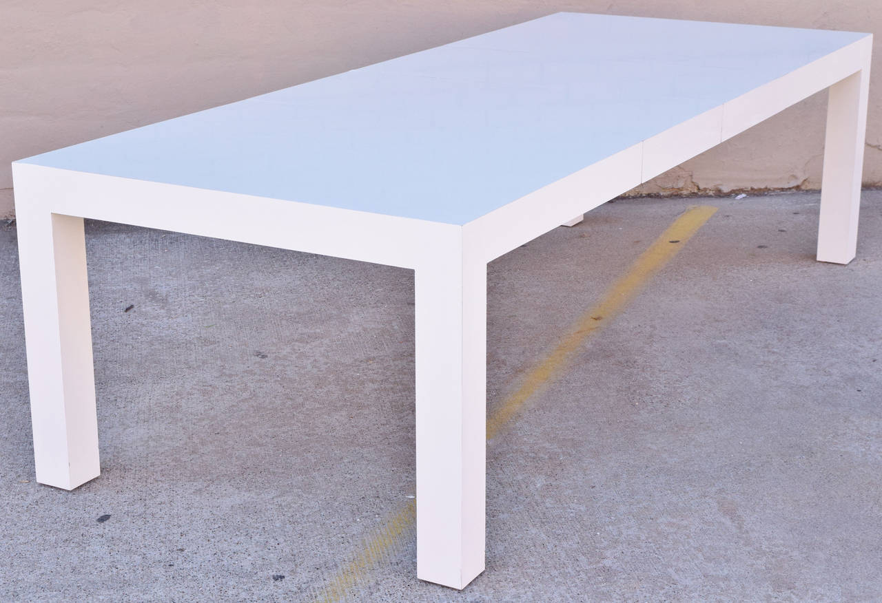 Beautiful White Laminate Parsons Style Dining Table By Milo Baughman For  Thayer Coggin. Table