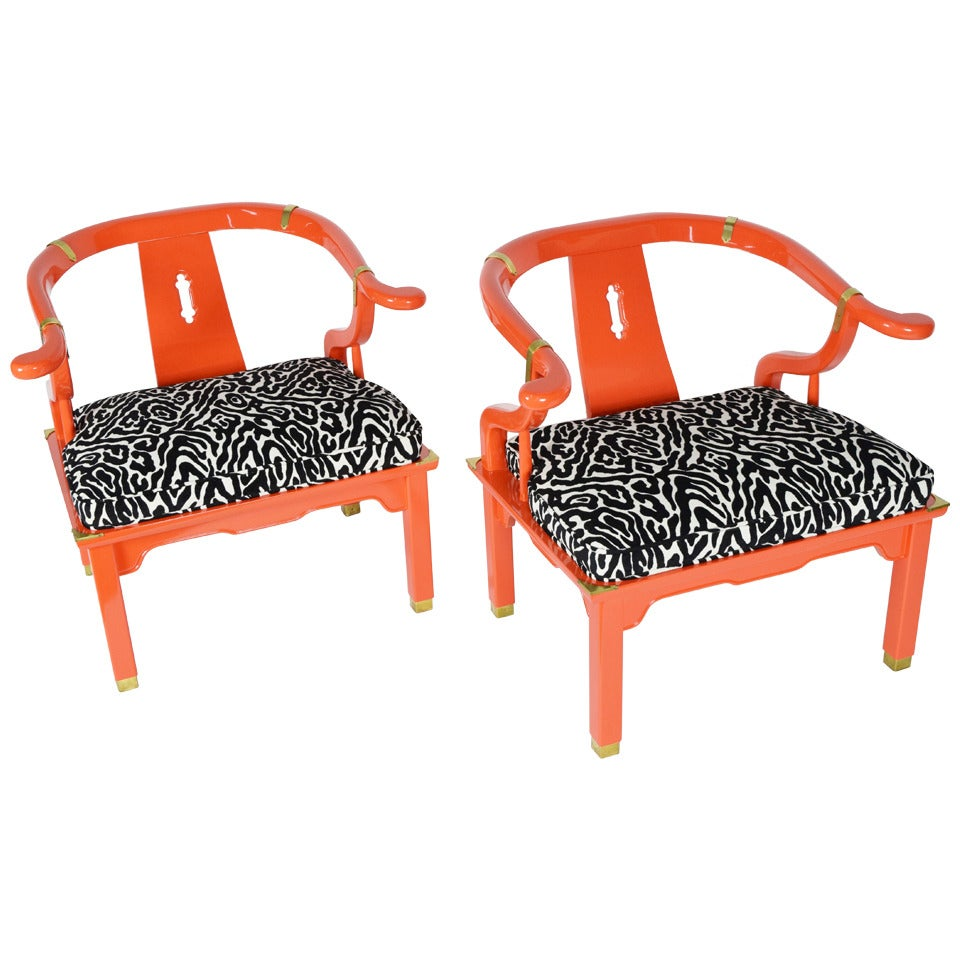 Pair of asian ming chairs james mont style by century for Asian chairs for sale
