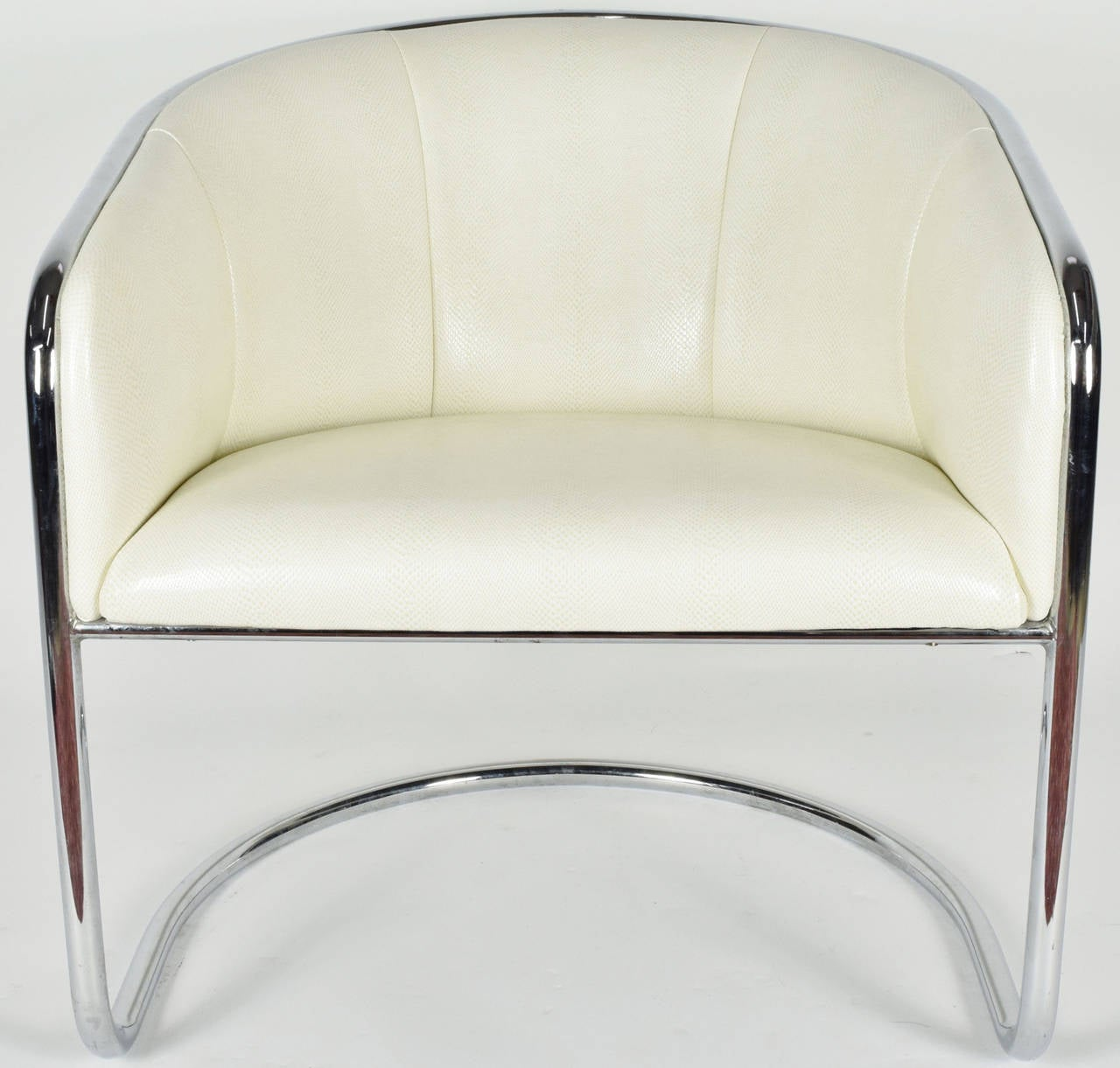 Mid-Century Modern Thonet Barrel White Faux Snakeskin and Chrome Club Chair, circa 1950's  For Sale