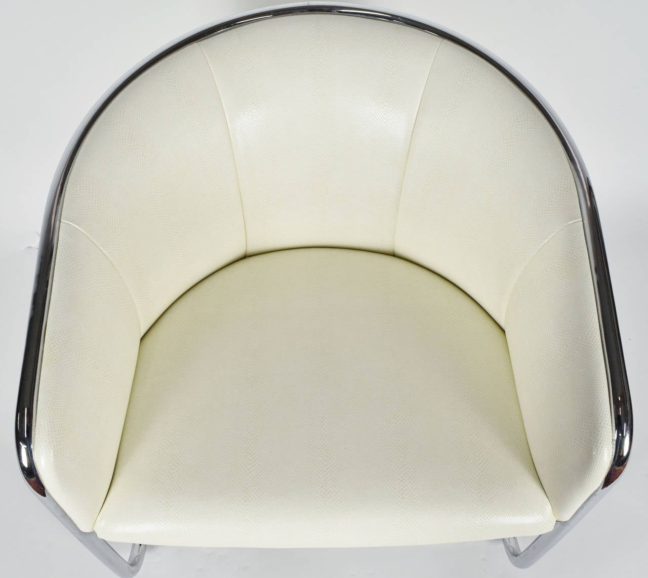 Thonet Barrel White Faux Snakeskin and Chrome Club Chair, circa 1950's  For Sale 1