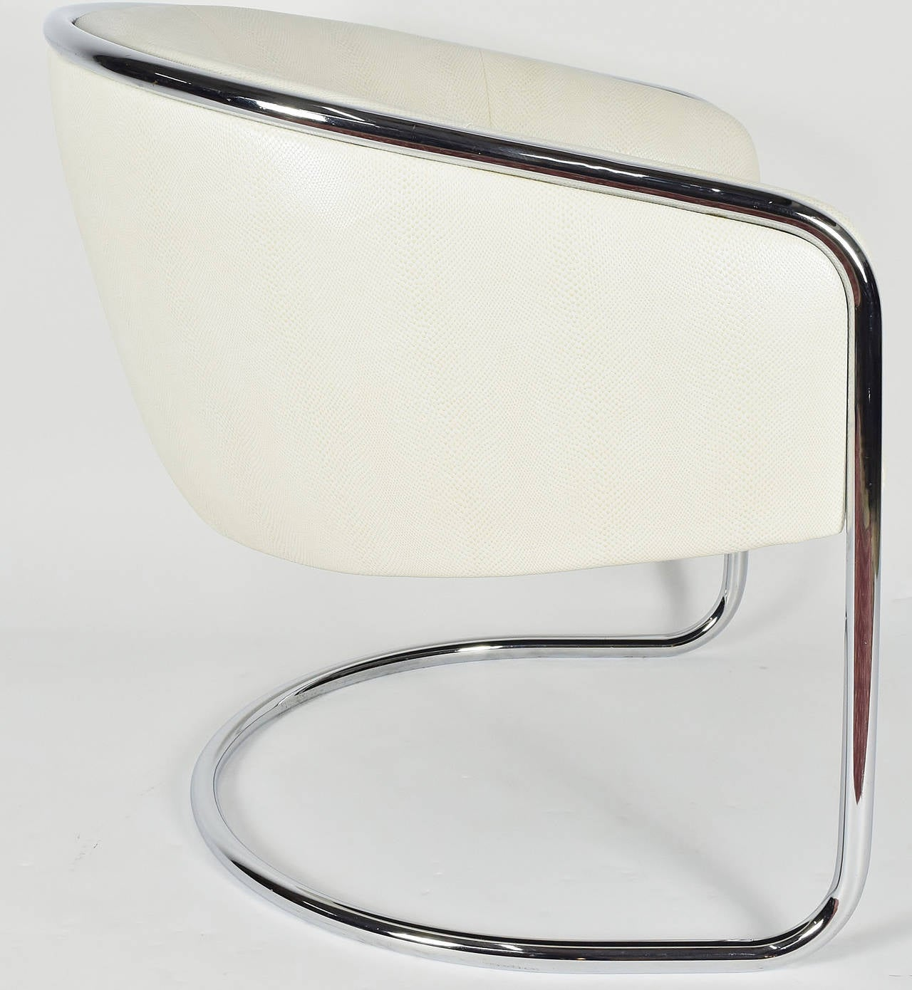 Thonet Barrel White Faux Snakeskin and Chrome Club Chair, circa 1950's  In Good Condition For Sale In Dallas, TX