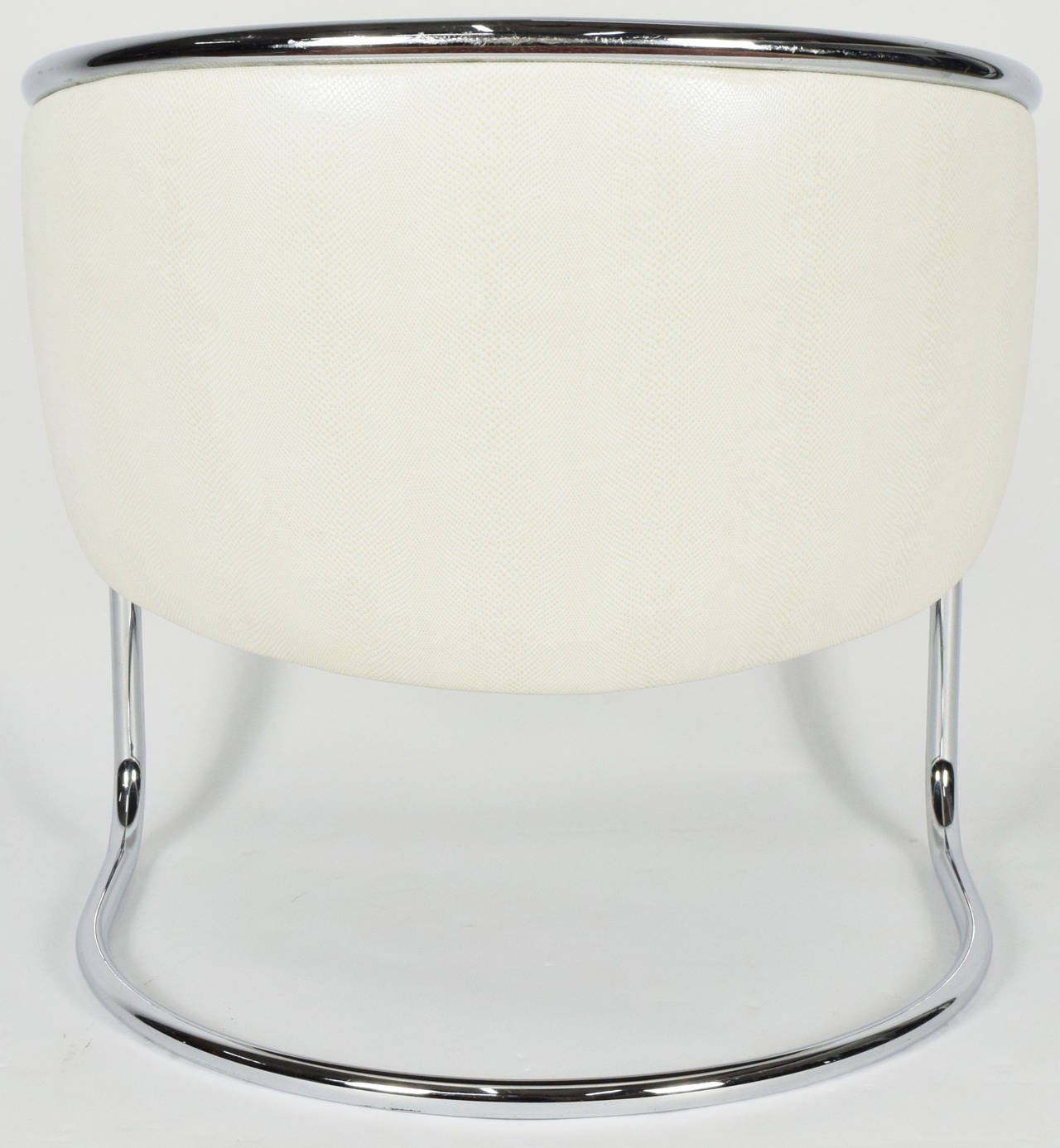 American Thonet Barrel White Faux Snakeskin and Chrome Club Chair, circa 1950's  For Sale