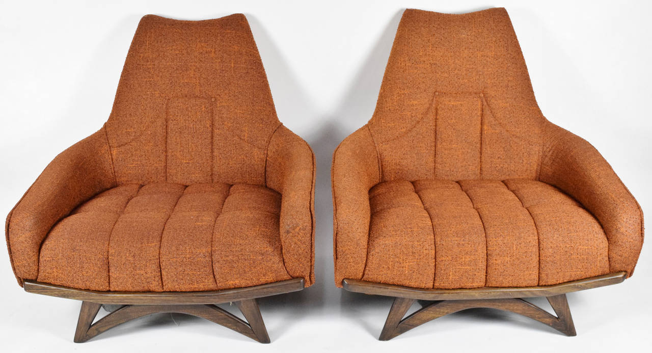 Pair of Adrian Pearsall Oversized Lounge Chairs at 1stdibs