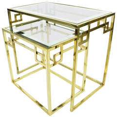 Set of Two Greek Key Classic Italian Nesting Tables by Mastercraft
