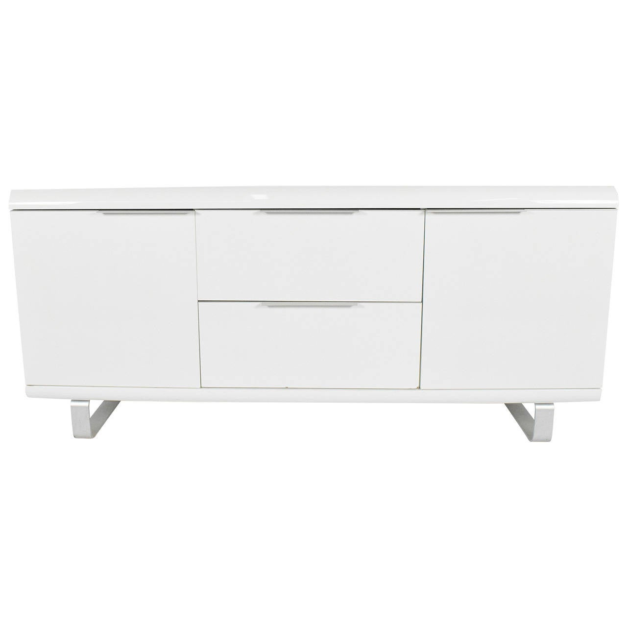 Saporiti Sideboard in White Lacquer with Chrome Legs
