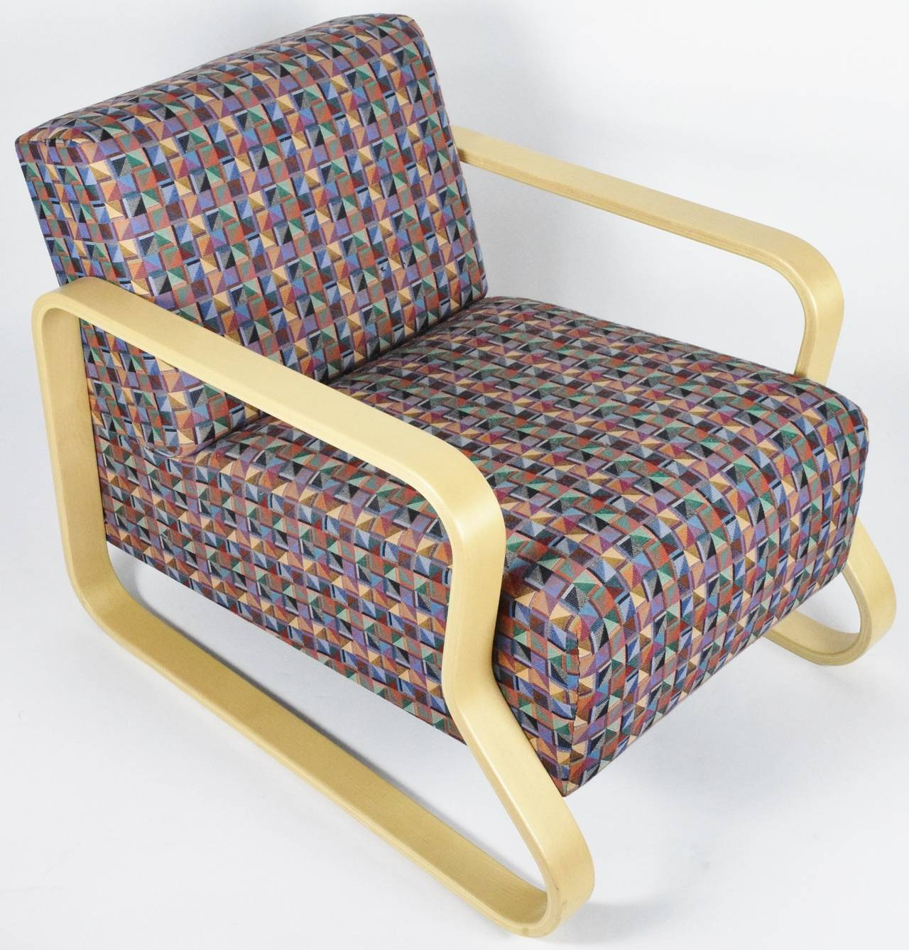 Alvar Aalto lounge armchair 44 upholstered with original fabric. Light wood still in very good condition for age.