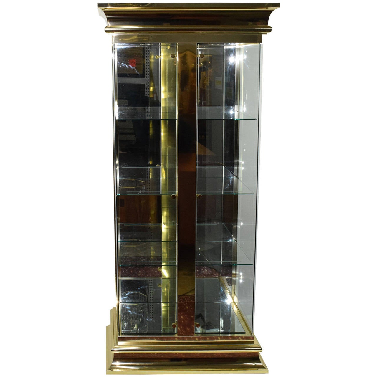 Lighted Display Vitrine/Cabinet in Brass Finish Attributed to ...