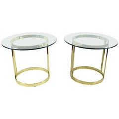 Pair of Milo Baughman Attributed Side Table in Brass Finish