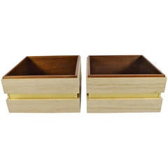 Pair of Travertine and Brass Planters Attributed to Baker